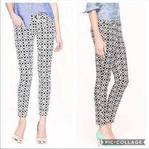 J. Crew Toothpick Geometric Print Skinny Jeans 29